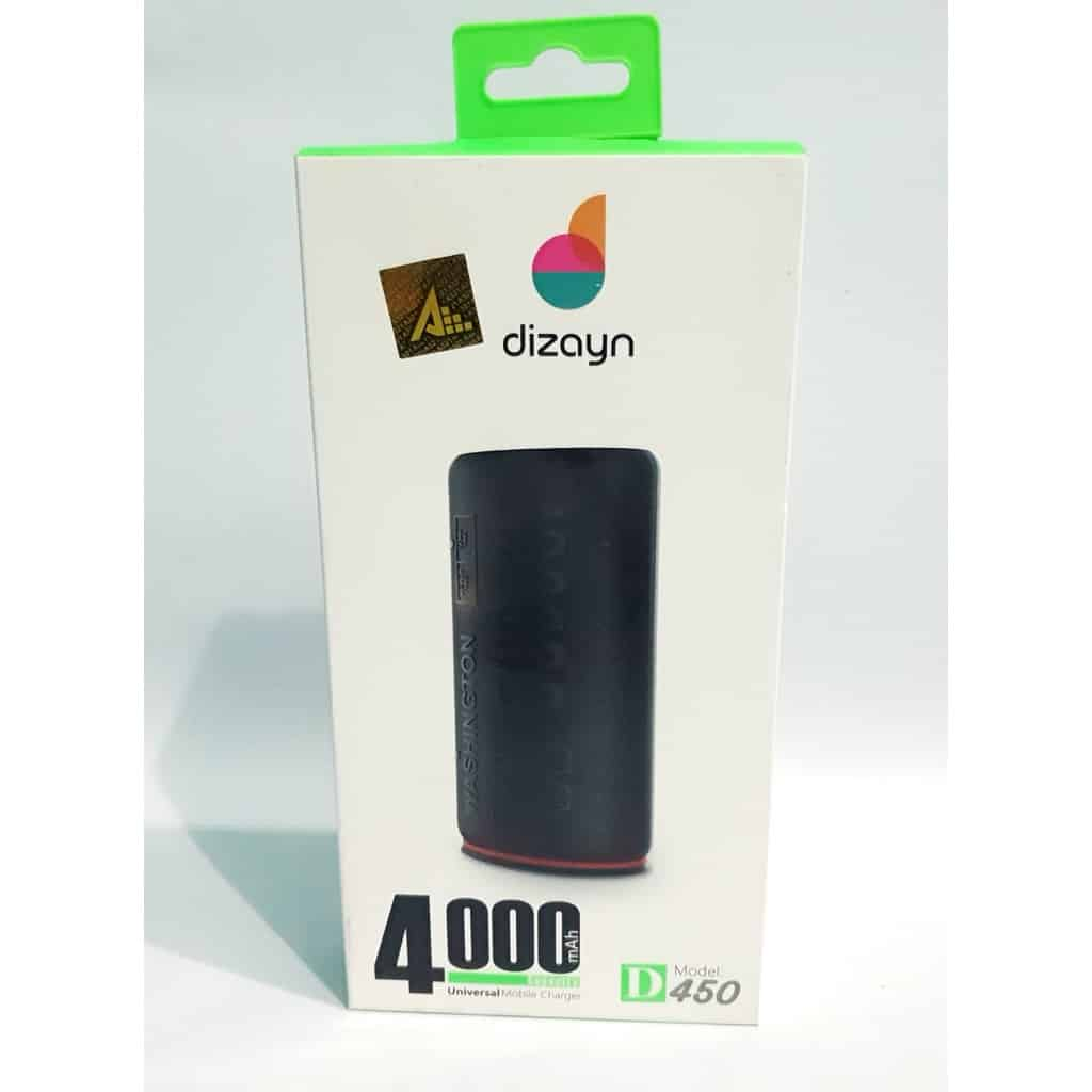 Dizayn Powerbank D450 4000mAH Siyah