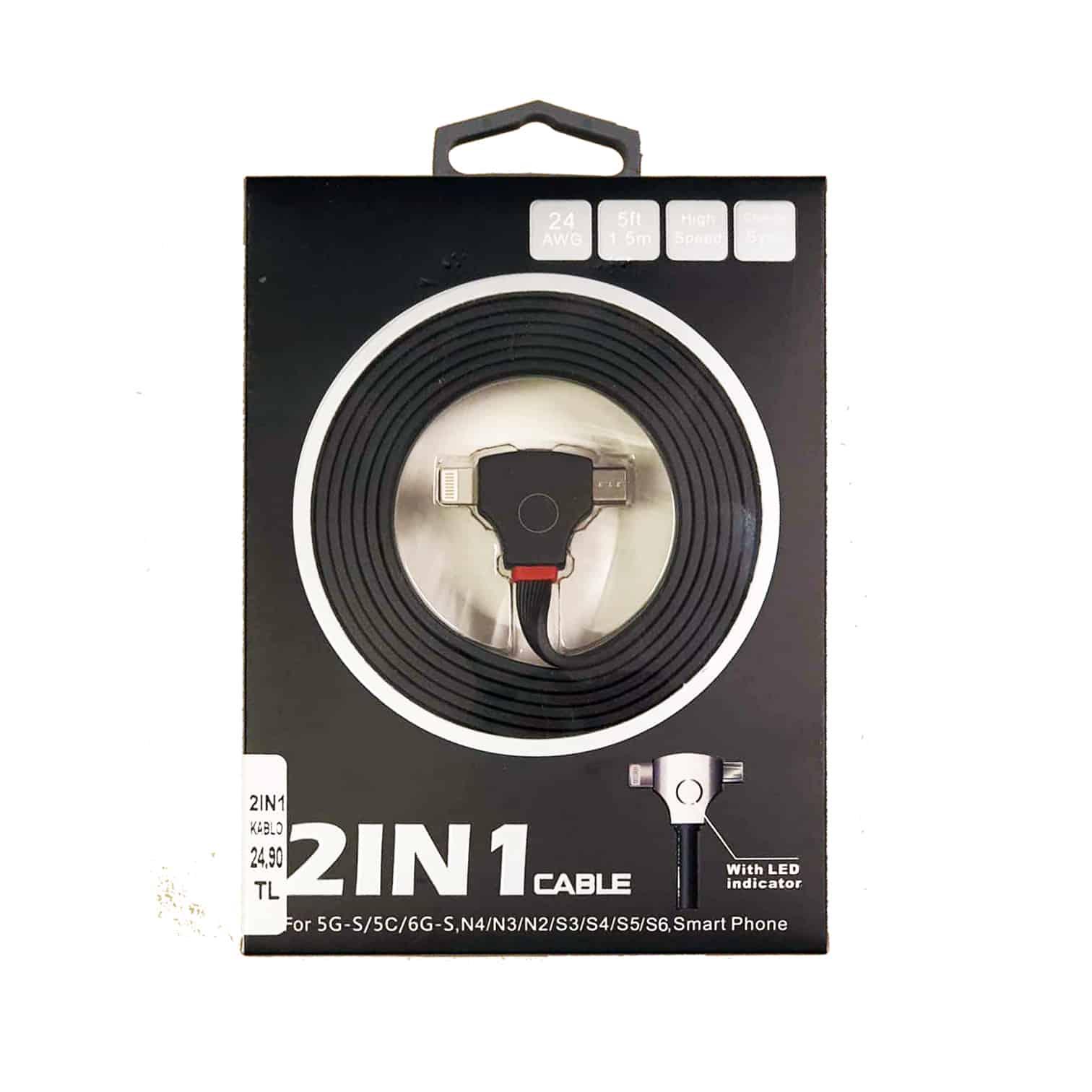 2IN1(MIC-USB) 1.5mt USB Şarj Kablosu