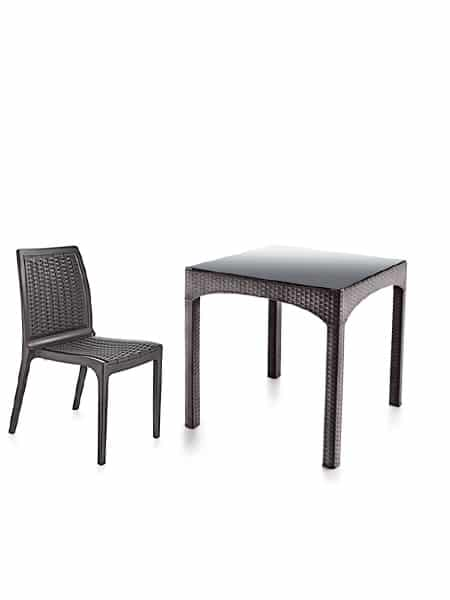 Rattan Masa Sandalye Takımı Temperli Camlı (4 Adet Sandalye + 1 Masa)