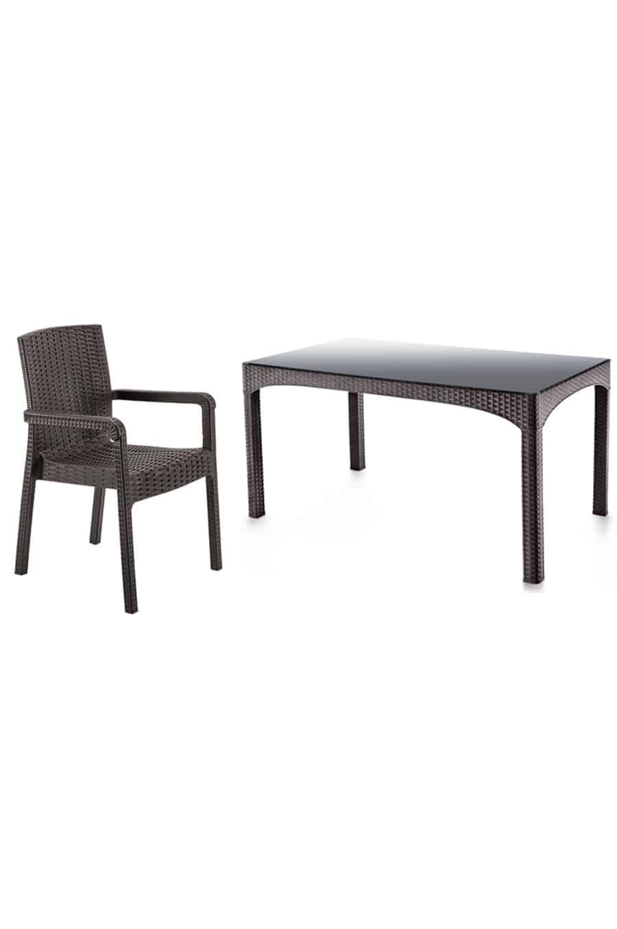 Rattan Masa Sandalye Takımı Camsız (6 Sandalye + 1 Masa)