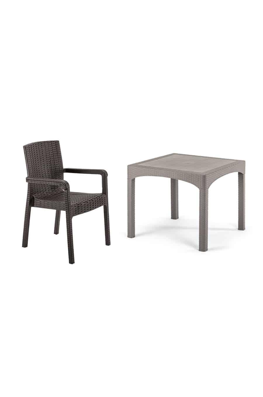 Rattan Masa Sandalye Takımı Camsız (4 Sandalye +1 Masa)