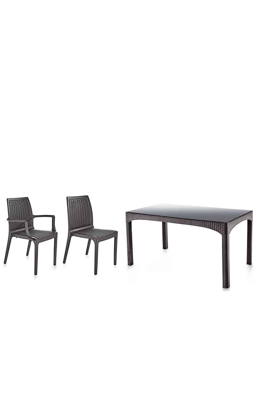 Rattan Masa Sandalye Takımı Camlı (6 Sandalye +1 Masa)