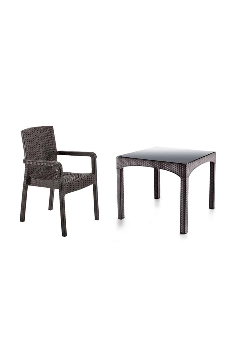 Rattan Masa Sandalye Takımı Camlı (4 Sandalye +1 Masa)