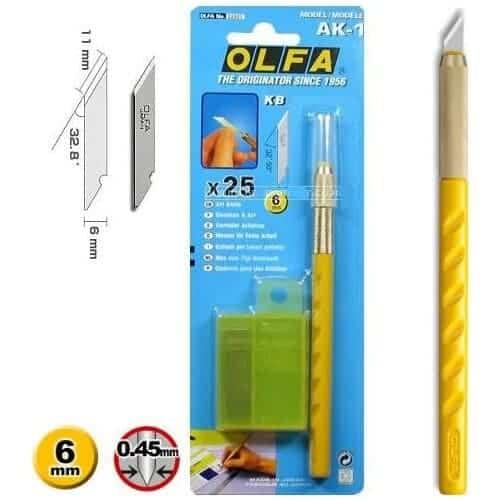 OLFA AK-1 Kretuar Maket Bıçağı (25 Adet Yedek Bıçaklı)