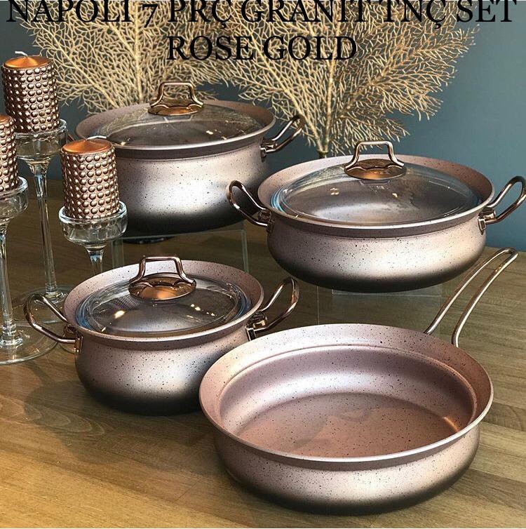 Leonardo Napoli 7 Prç Granit Tnç Set Rose Gold