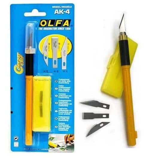 OLFA AK-4 Profesyonel Kretuar Maket Bıçağı (3 Farklı Bıçak Yedekli)