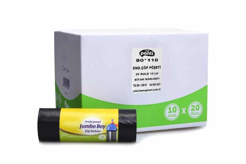 Ponti Endüstriyel Jumbo Boy Çöp Torbası Siyah 80*110cm 400gr Paket