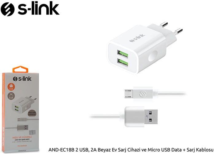 S-link And-ec18b 2 Usb 2a Beyaz Ev Sarj Cihazi Ve Micro Usb Data