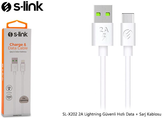 S-link SL-X202 2A Lightning Güvenli Hızlı Data + Sarj Kablosu